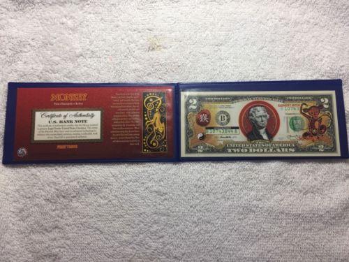 2 Dollar Bill Colorized Chinese Zodiac Monkey