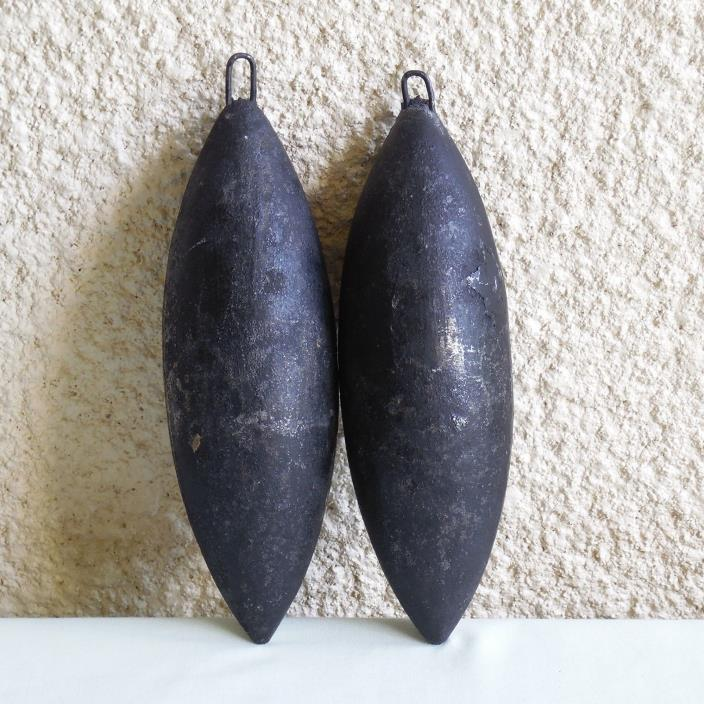 ANTIQUE SET OF 2 ORIGINAL FRENCH MORBIER WAG-ON WALL CLOCK WEIGHTS
