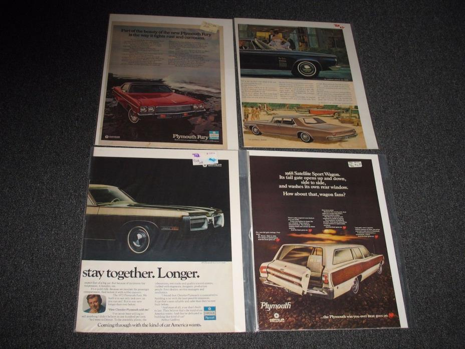 Vintage Car Ads 1960s / 70s Chrysler / Plymouth Lot of 4