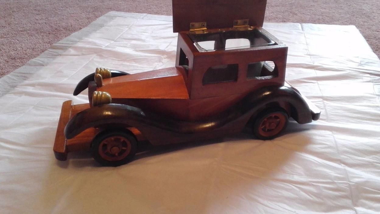 Vintage (1980s)wood crafted antique Rolls Royce car toy w/hinged roof.