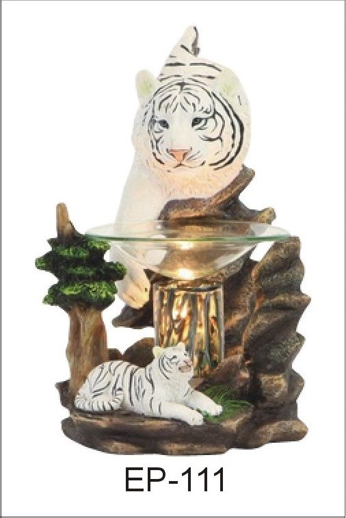 Figurine Electric Oil Burner/ Fragrance Lamp/ WHITE TIGERS POLY RESIN OIL BURNER