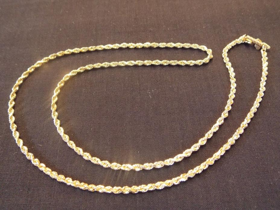 Ladies Solid 14K Yellow Gold Rope Chain 14.2 grams