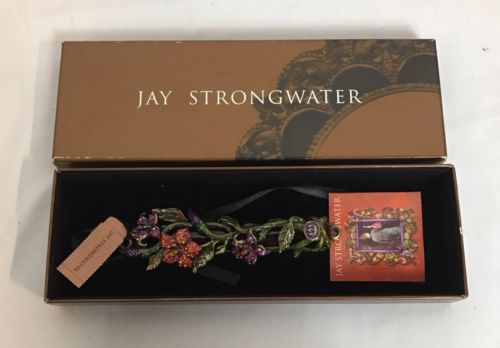 Signed Jay Strongwater Swarovski Floral Mezuzah Enamel New In Box