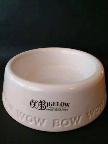 C.O. Bigelow Apothecaries DOG FOOD BOWL Dish - Large White Pet Feeder Bow Wow
