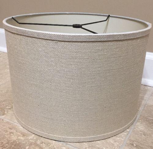 NEW Pottery Barn MEDIUM Burlap Straight Sided Drum Lamp Shade BLEACHED