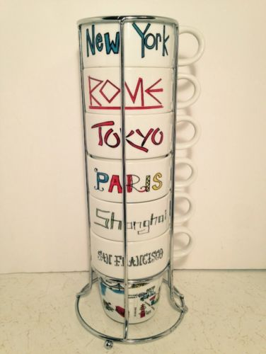 World Market Set Of 6 Stacking Cups Cities Of The World 8 oz Stainless Stand