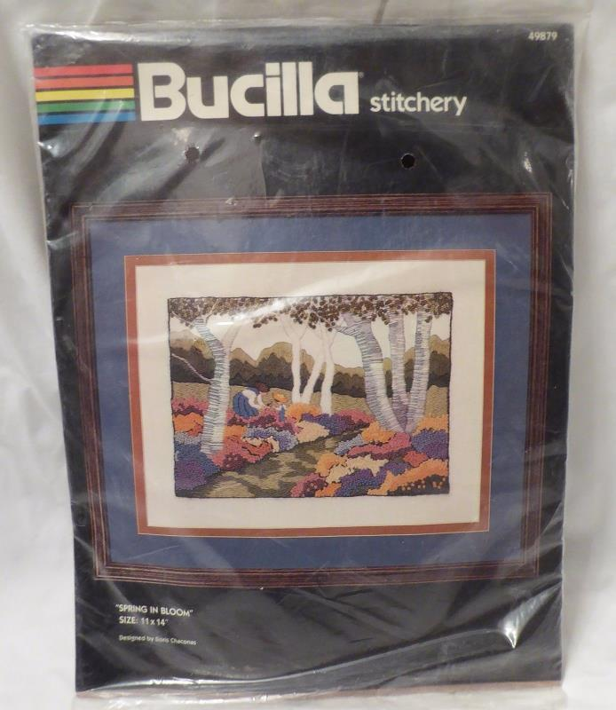 Vtg Bucilla Crewel Embroidery Kit SPRING IN BLOOM Flowers Children Landscape