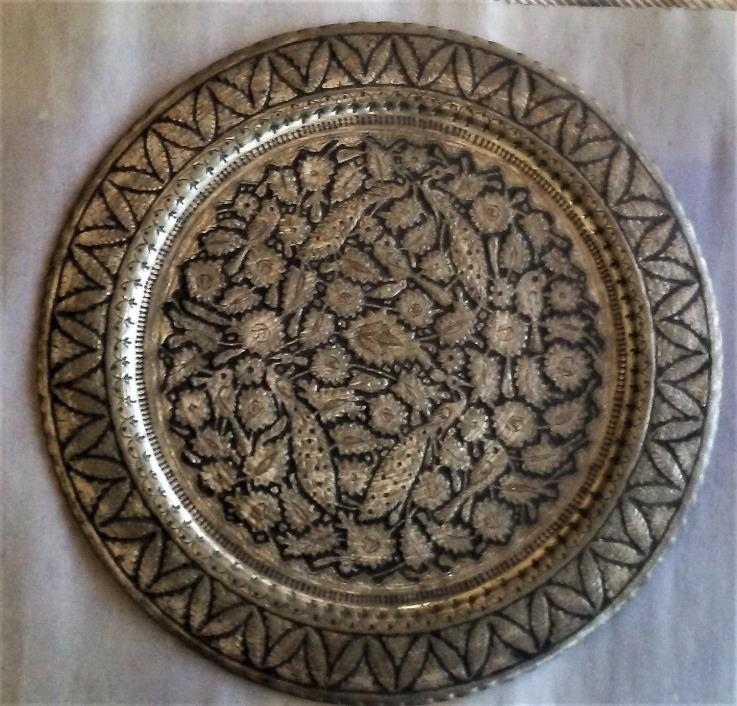 Beautiful Antique Copper Silver Tone Persian Persian Tray Engraved, 19.75