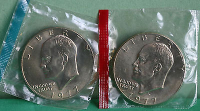 1977 P and D Eisenhower Dollar Coins from US Mint Set BU Cellos TWO IKE $1