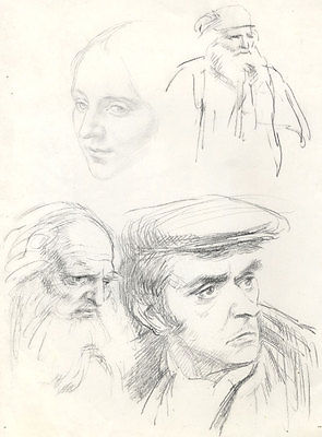 George Richards-Corbett - Mid 20th Century Graphite Drawing, Studies of Heads
