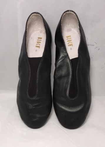 Size 9 BLOCH Leather Black Jazz Tap Split Sole Slip On Shockwave Tap Soft Shoe