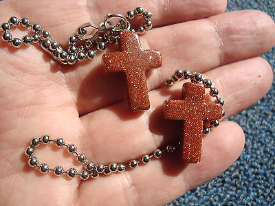 A Pair Of Goldstone Cross Ceiling Fan/Light Pull Chains