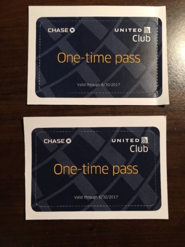 United Club One Time Pass (Two Passes) EXP 6/30/2017