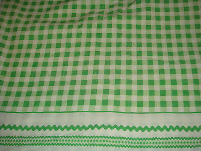 Vintage Green Gingham QUEEN Flat Bed Sheet