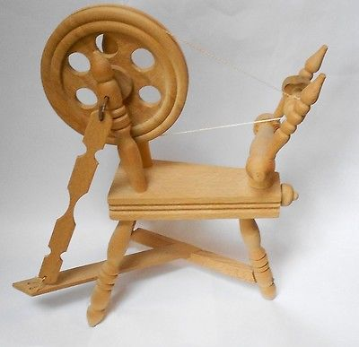 MINIATURE vintage TOY SIZED HANDCRAFTED wooden SPINNING WHEEL.