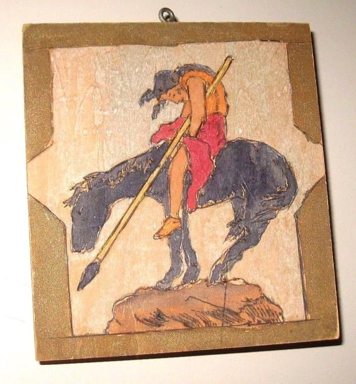 Vintage END of the TRAIL Folk Art Painting American Indian Warrior Outside Art