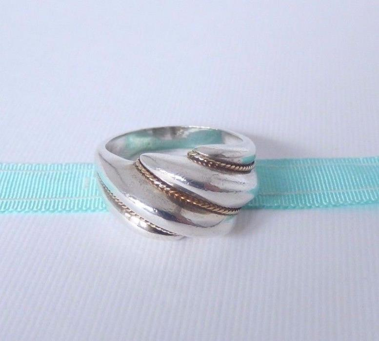 Tiffany & Co Size 7 Sterling Silver 18k Gold Swirl Rope Dome Wave Ring Band