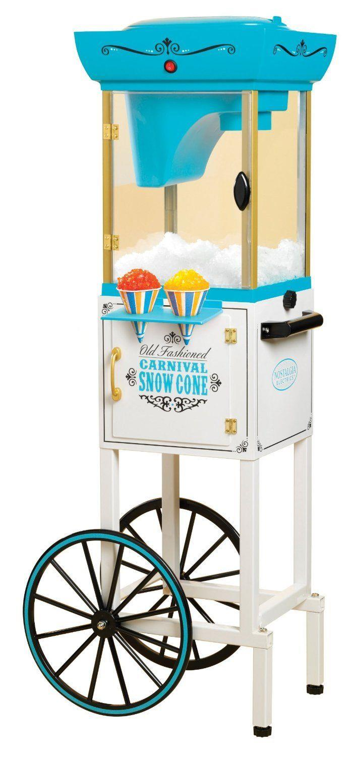 Snow Cone Machine Vintage Ice Shaver Maker Rolling Cart Ice Crusher BPA Free NEW