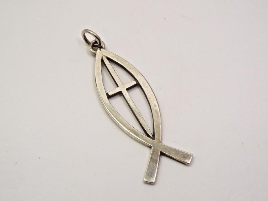 Vintage James Avery Sterling Silver Large Open Ichthus Fish & Cross Pendant