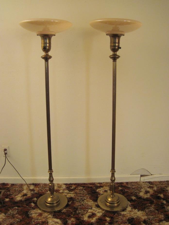SET OF 2 VTG FUNERAL HOME FLOOR LAMP TORCHIERE CASKET VEWING LIGHTS