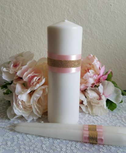 Blush and Gold Unity Candle Set