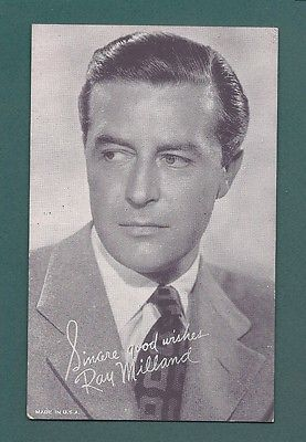 SINCERE GOOD WISHES RAY MILLAND ARCADE CARD 1950'S MOVIE STAR FILM STAGE ACTOR