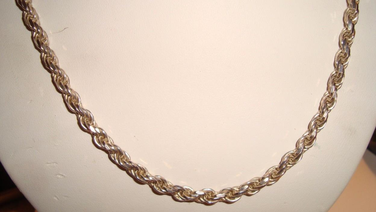 STERLING SILVER 20 INCH DIAMOND CUT ROPE CHAIN 4 MM LOBSTER CLASP  24.38 GRAMS