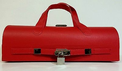RED Wine Drink Box Carrier Gift Retro w/ Handle Straps Bar Deco -FREE SHIPPING