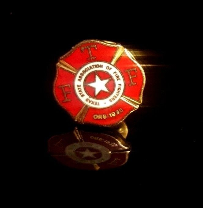 VINTAGE TEXAS STATE ASSOCIATION OF FIREFIGHTERS,1938 ,Fireman Metal LAPEL PIN