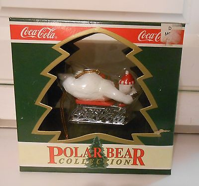 COCA COLA POLAR BEAR COLLECTION COKE ORNAMENT 1995- Polar Bear on Coca Cola Sled