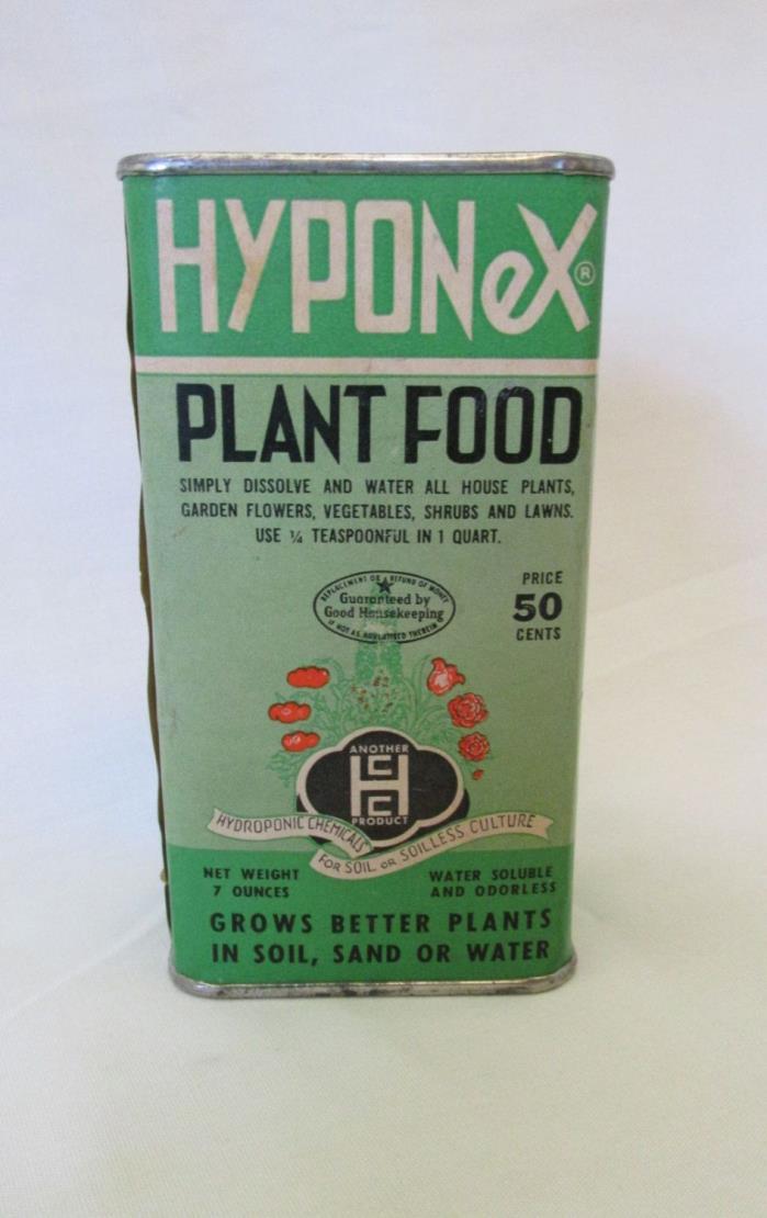 Vintage Hyponex Plant Food Tin Soil Sand or Water Fertilizer Full Can 7 oz