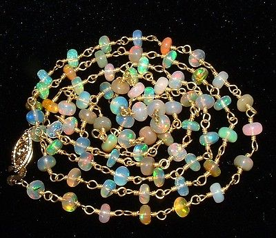 14K Gold NATURAL ETHIOPIAN WELO FIRE OPAL NECKLACE Intense Crazy Colors and Fire