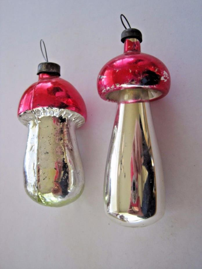 Lot of 2 Vintage Mercury Glass Mushroom Ornaments