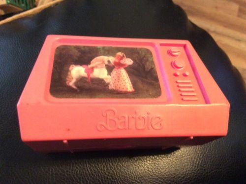 Barbie doll Collector TV pink Matel 1977 For doll house - Rare Hard To Find