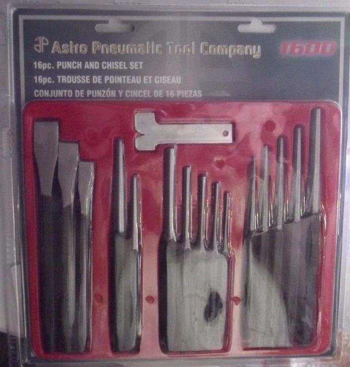 Astro Pneumatic Tool Astro 1600 16-Piece Punch and Chisel Set