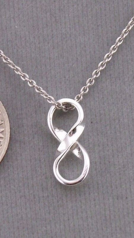925 Sterling Silver Infinity Symbol Pendant Necklace Cute Small Jewelry NEW