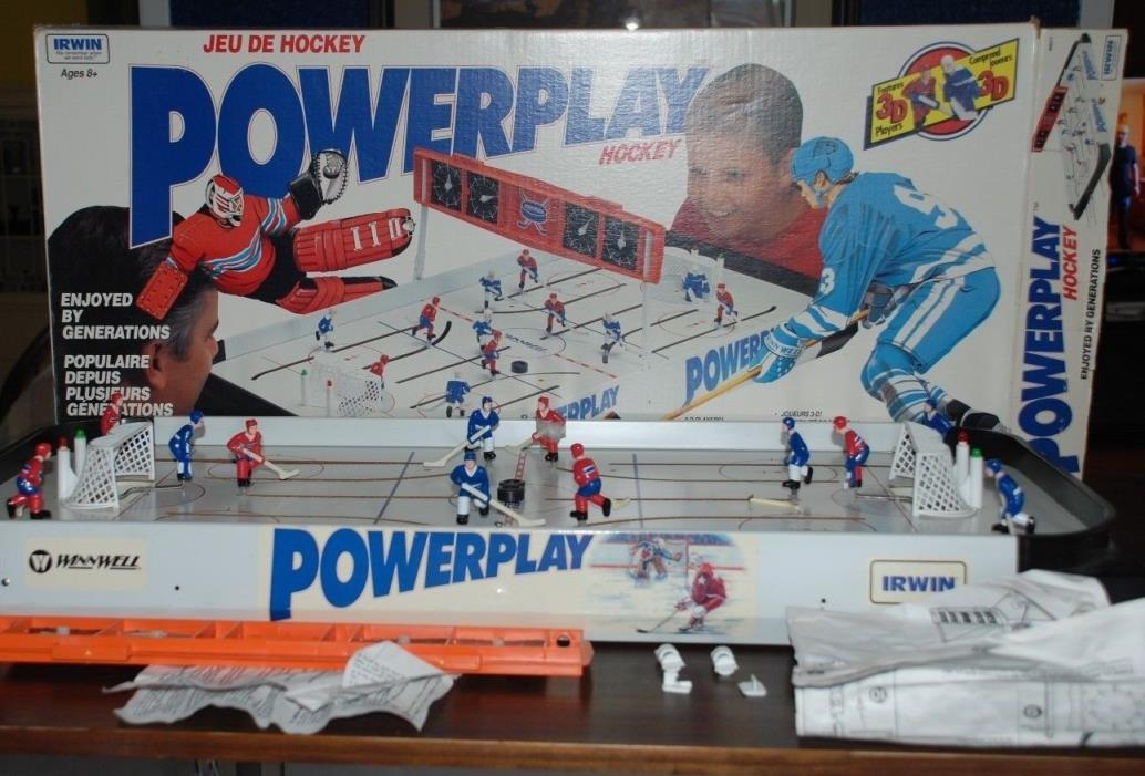 VINTAGE ORIGINAL TOYS IRWIN POWER PLAY HOKEY TABLE 3D WITH BOX