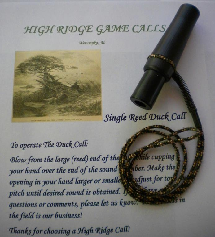 DUCK CALL SINGLE REED By High Ridge Enterprises