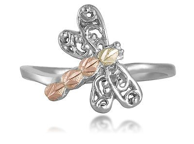 Black Hills Gold dragonfly ring womens .925 silver adjustable toe ring