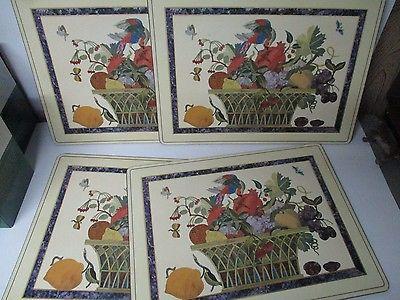 Set of 4 Pimpernel England Cork Back Placemats - ORNATE FLOWERS