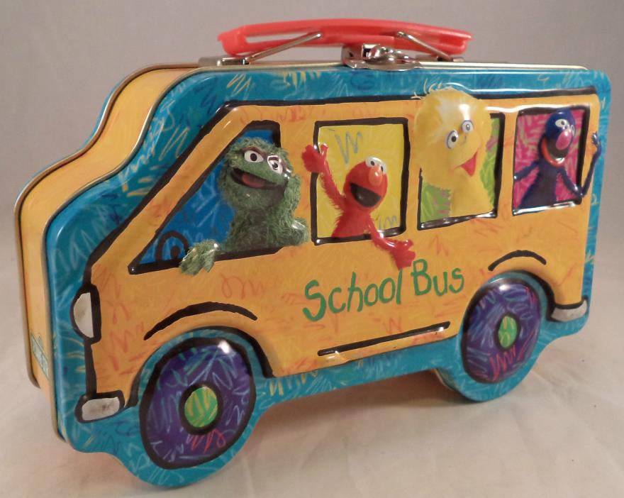 Collectible 3D Sesame Street School Bus Tin Metal Box Storage 2005 Elmo Big Bird