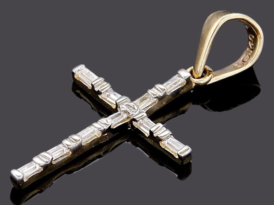 Cruz Colgante Cristiana de 14k Oro Solido de Dos Tonos con Zirconias