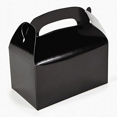 12 (1 dozen) Black Treat Boxes for Party Favors