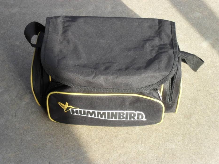 Humminbird tackle bag full of tackle boxes and fishing lures