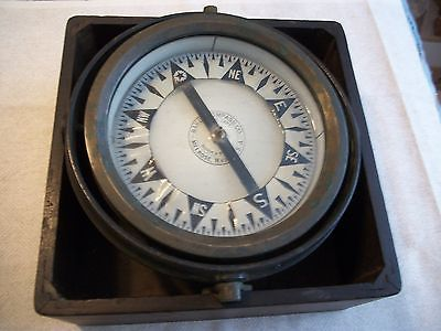 Antique Baker Ship Gimbal Compass Quick & Steady  Melrose Mass. 1873
