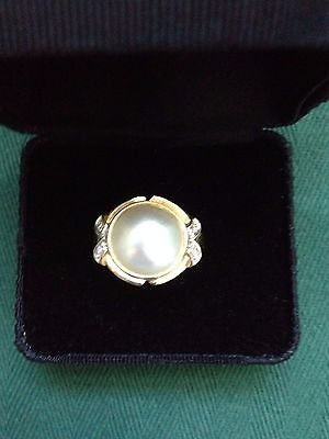 Mabe Pearl and Diamond Ring in 14K yellow gold