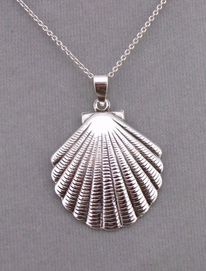 925 Sterling Silver Scallop Shell Pendant Necklace Nautical Jewelry NEW