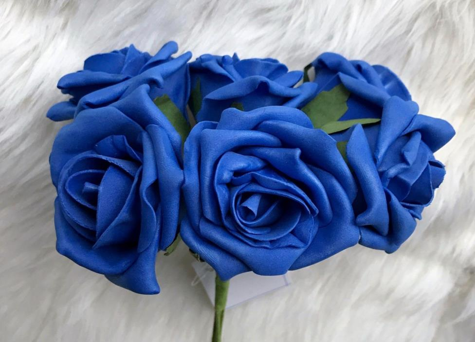6 Royal Blue Poly Foam Quality Roses 7cm Head Wedding Flowers, Table Decorations