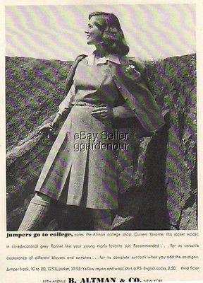 1940 Women's suit college dress B. Altman fashion Ad MMXV