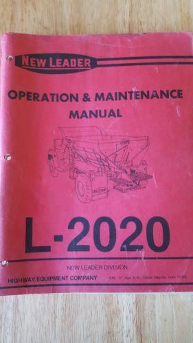 New leader L-2020 operators and maintenance manual
